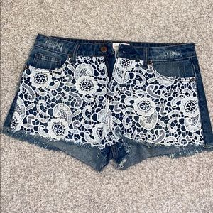 Jean Shorts With Crochet Detail